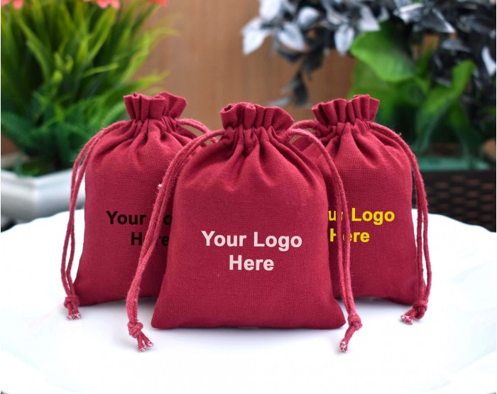100 Red Custom Jewelry Packaging Pouch Personalized Logo Gift Bag Ring Necklace Packing Bags Bracelet Free Shippings